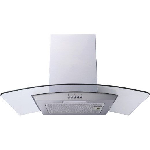 60/70/90cm Stainless Steel Curved Glass Chimney Hood