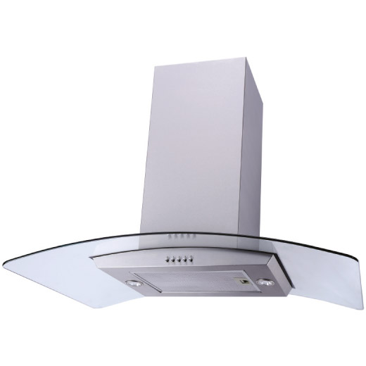 90cm Stainless Steel Curved Glass Island Hood