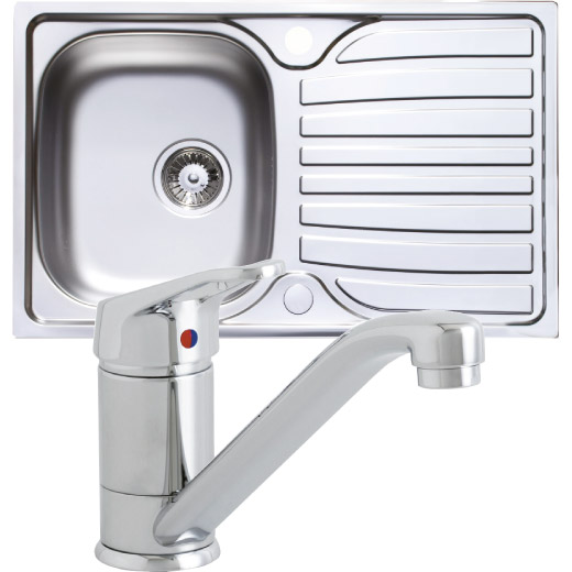 Prima Compact Polished Stainless Steel 1 Bowl & Tap Pack