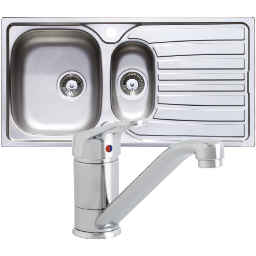 Prima Polished Stainless Steel 1.5 Bowl & Tap Pack